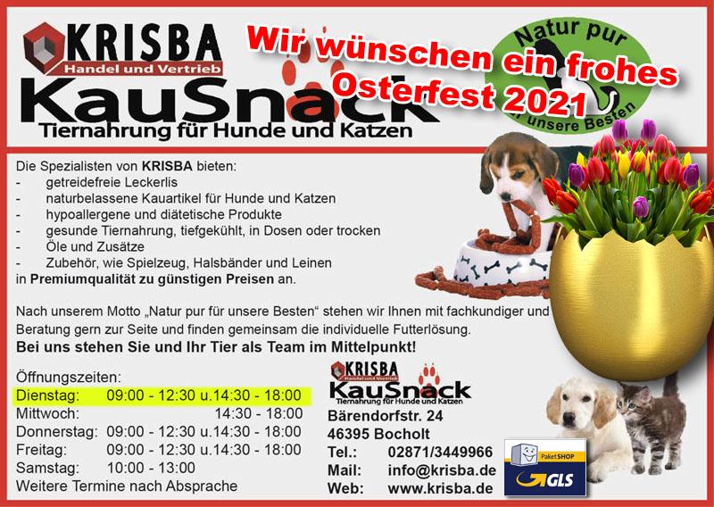 KRISBA KAUSNACK WUENSCHT FROHE OSTERN 2021